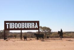 20170721-4097 Tibooburra Sign with Silhouette Mustering Med